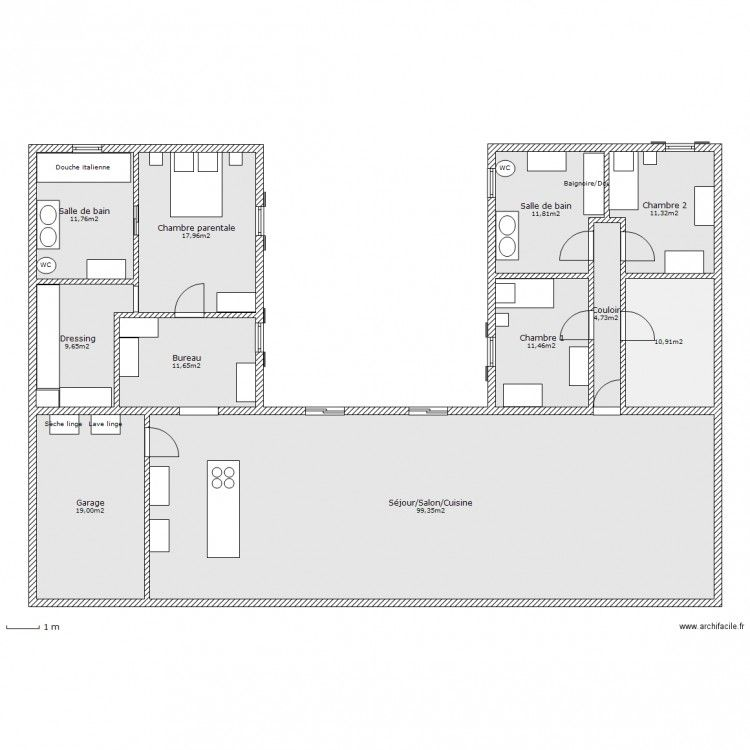 Plan maison en u for Plans maisons en u