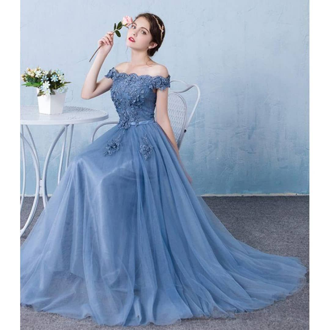 Elegant Baby Blue Prom Dress,Off The Shoulder Party Dress,Lace