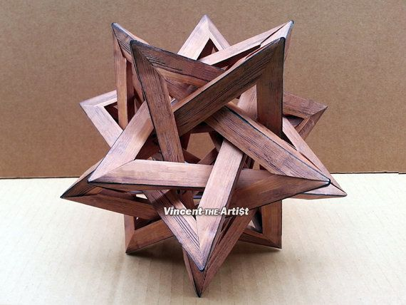 Five Intersecting Tetrahedra Paper Origami  by VincentTheArtist