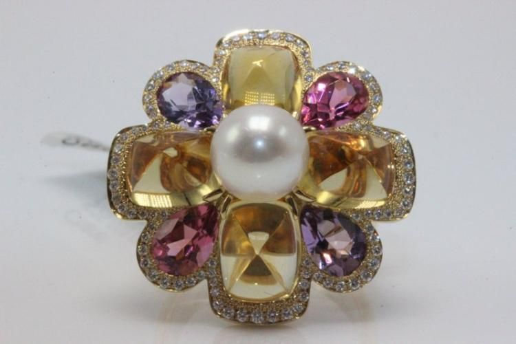 Chanel 18Kt YG Pearl, Pink Tourmaline, Amethyst, Citrine & Diamond Ring. Weight - 15.5 grams. 0.46ct. Diamonds, size - 6.5. Retail - $25,000.
