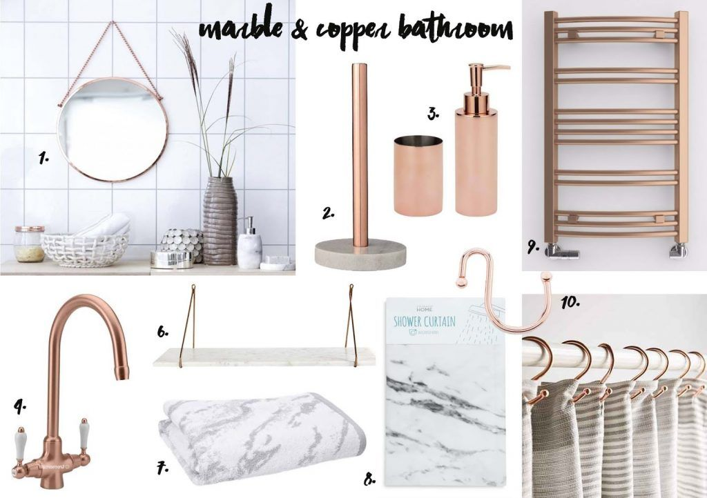 Copper and marble bathroom accessories | nat | Pinterest ...