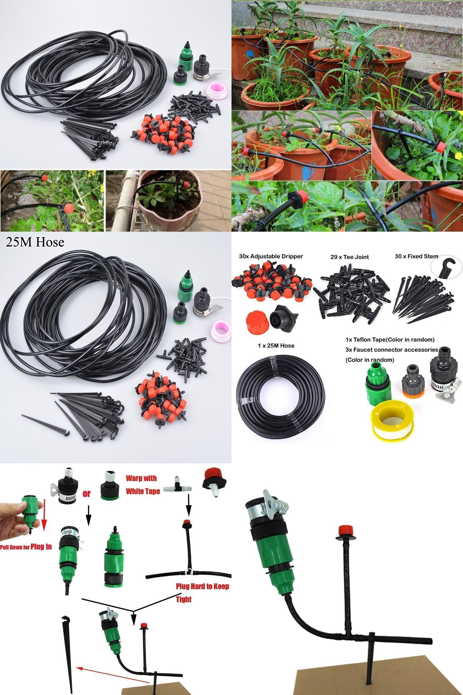 30M Water Irrigation Drip Watering System for Garden Plant Micro Drip Hose DIY