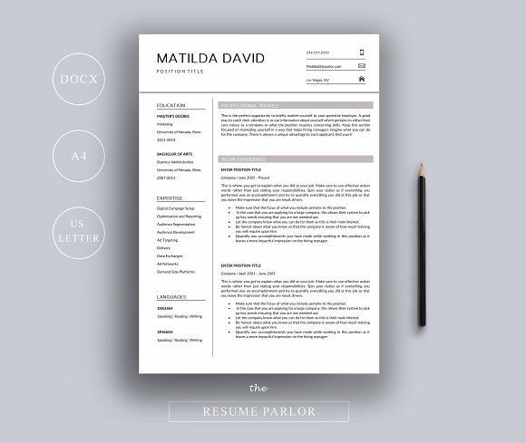 Resume Template A4 + US Letter by The Resume Parlor on - resume paper office depot