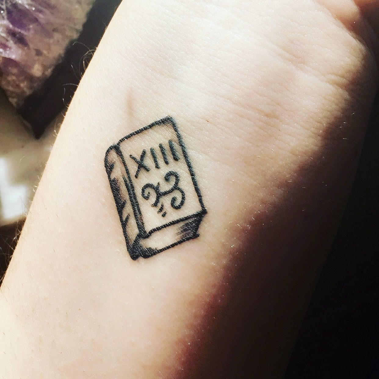 My Book Tattoo For Friday The 13th I Love How Small And Cute It Is 3 Friday The 13th Tattoo Book Tattoo 13 Tattoos