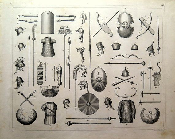 1849 Antique engraving of WEAPONS of the by LyraNebulaPrints