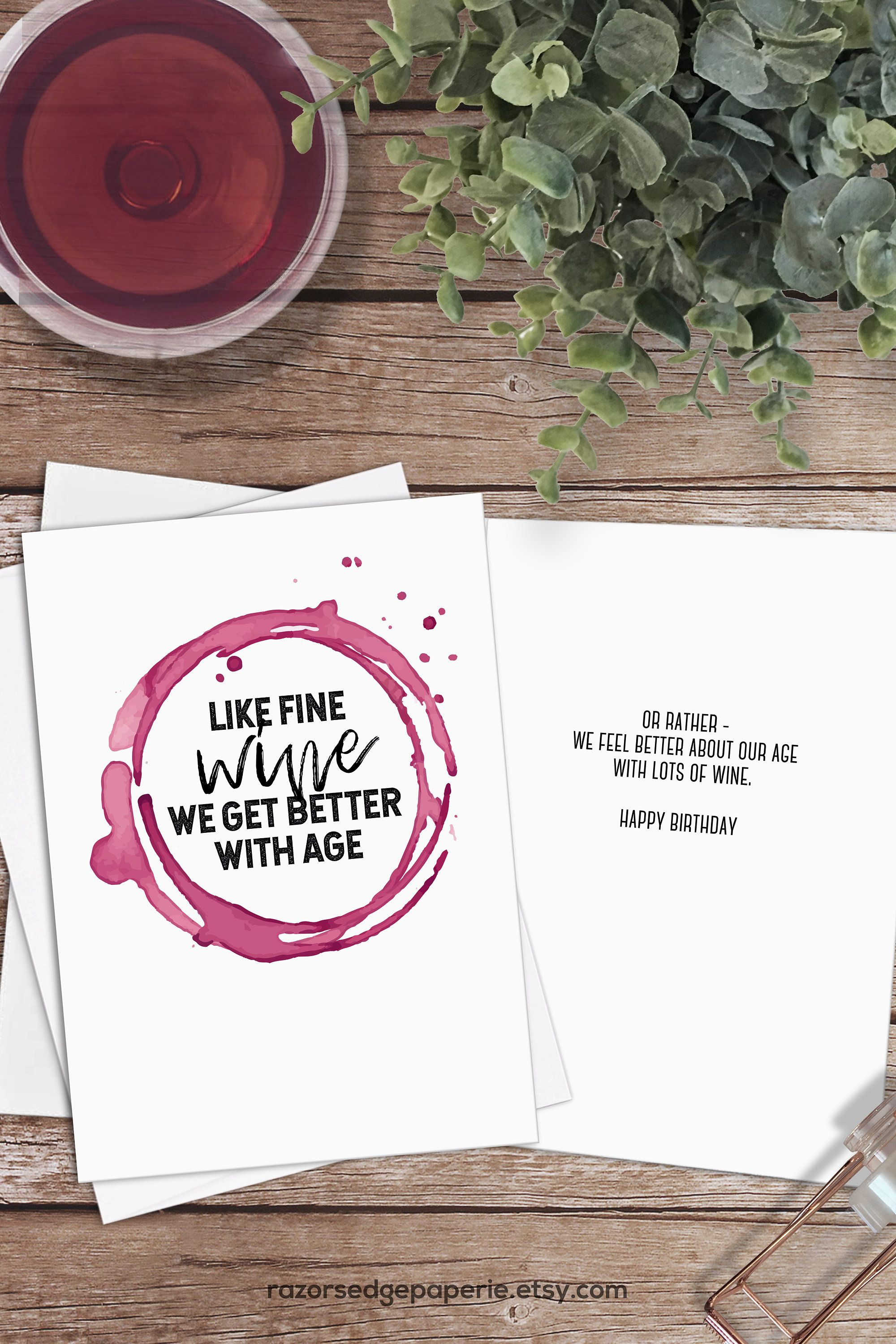 Printable Funny Wine Birthday Card For Her Sister Best Friend Etsy Wine Birthday Cards Wine Birthday Cards Funny Birthday Cards For Her