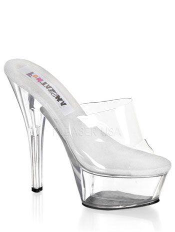 6ab26509428bb Sandal has a 6 inch spike clear heel, 2 inch clear platform, padded ...