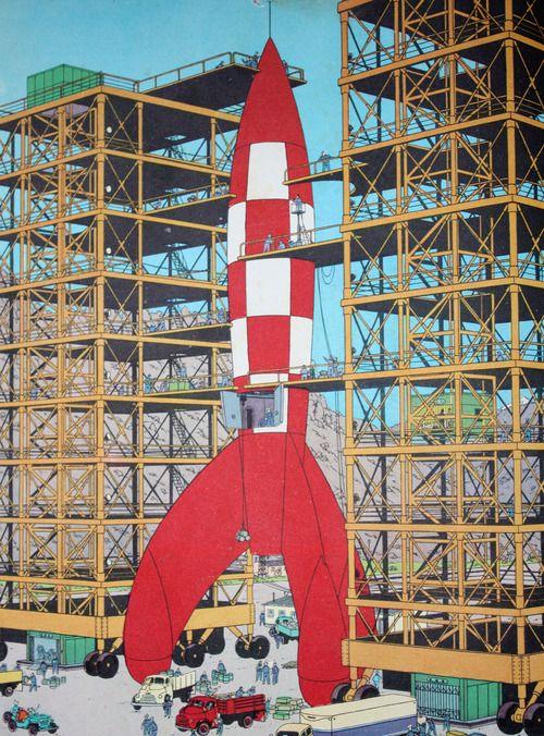 Tintin by Hergé, On a marché sur la lune, 1954 • launch pad • destination moon • Tintin, Herge j'aime