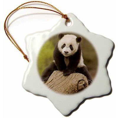 The Holiday Aisle China, Wolong Panda Reserve, Baby Panda Bear on Stump Snowflake Holiday Shaped Ornament