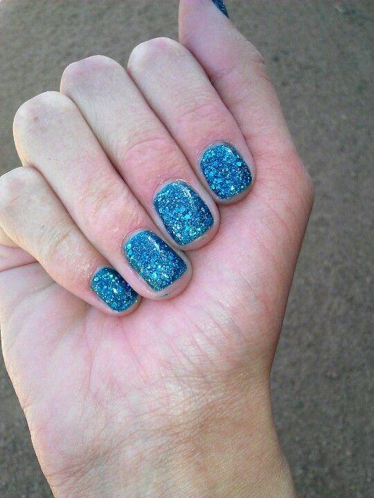 My blue glitter gel nails. Bluesky Gel Polish.