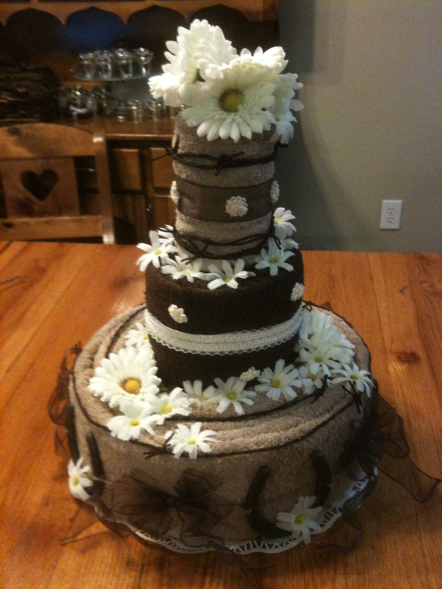 shabby chic bridal shower cakes%0A Towel cake centerpiece for Rustic Wedding Shower