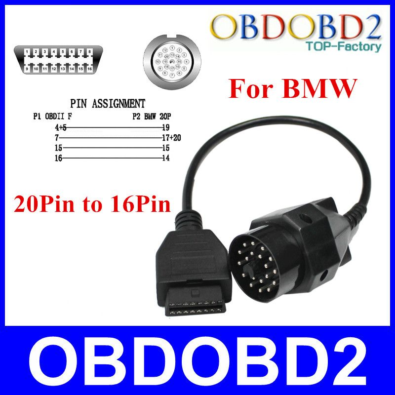 Newest OBD OBDII Adapter For BMW 20Pin To OBD2 16PIN Female