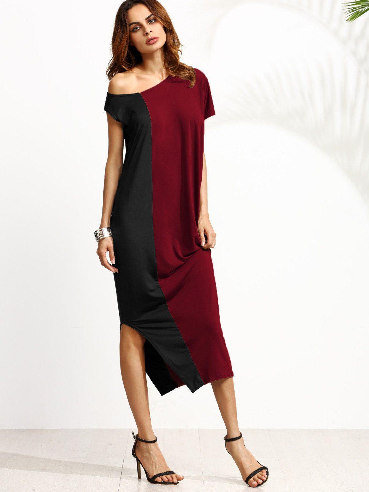 One side strap wedding dress  Two Tone Oblique Shoulder Split Dress  Think Print  Fashion