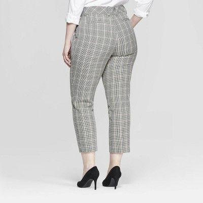 a0279806bda Women s Plus Size Plaid Comfort Waistband Plaid Ankle Pants - Ava   Viv  Gray 18W