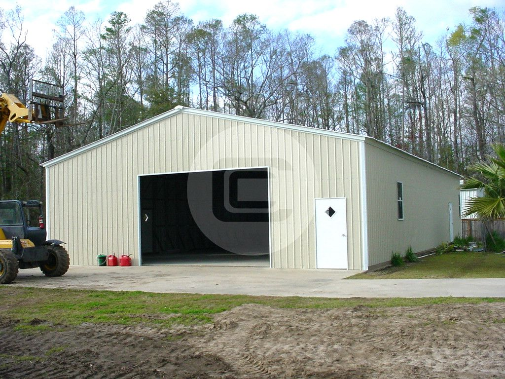 32 X 52 X 12 Enclosed Metal Garage Includes 1 10 X 10 Roll Up Garage Door On The Front 1 Side Wind Metal Garages Metal Farm Buildings Steel Carports