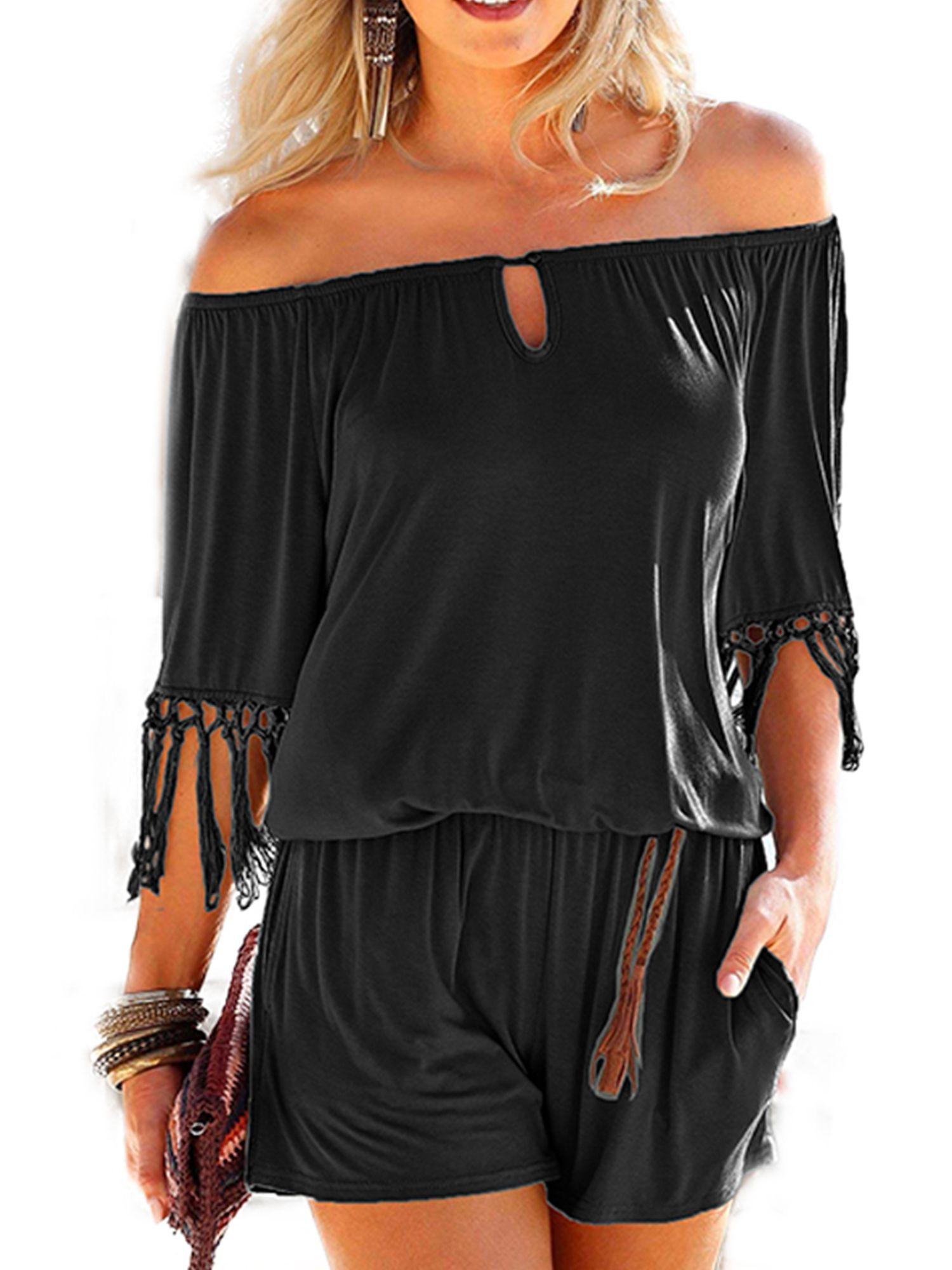 Womens Tassel Jumpsuit Summer Off Shoulder Playsuit Short Sleeve Dress Beachwear