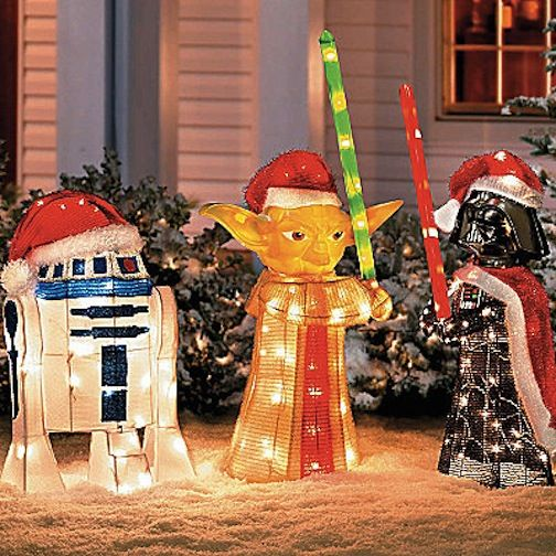 Details about star wars yoda darth vader r2 d2 outdoor for Unique outdoor christmas decorations