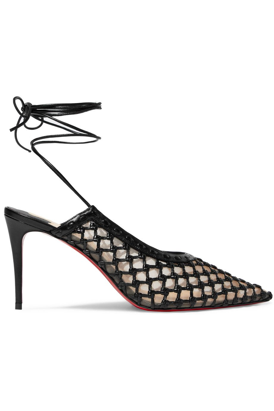 749468b728bc Christian Louboutin - + Roland Mouret Cage and Curry mesh and woven leather  pumps