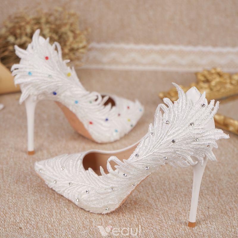 Chic Beautiful White Wedding Shoes 2018 Appliques Lace Rhinestone 11 Cm Stiletto Heels Pointed Toe Wedding Pumps Custom Shoes Heels White Wedding Shoes White Bridal Shoes