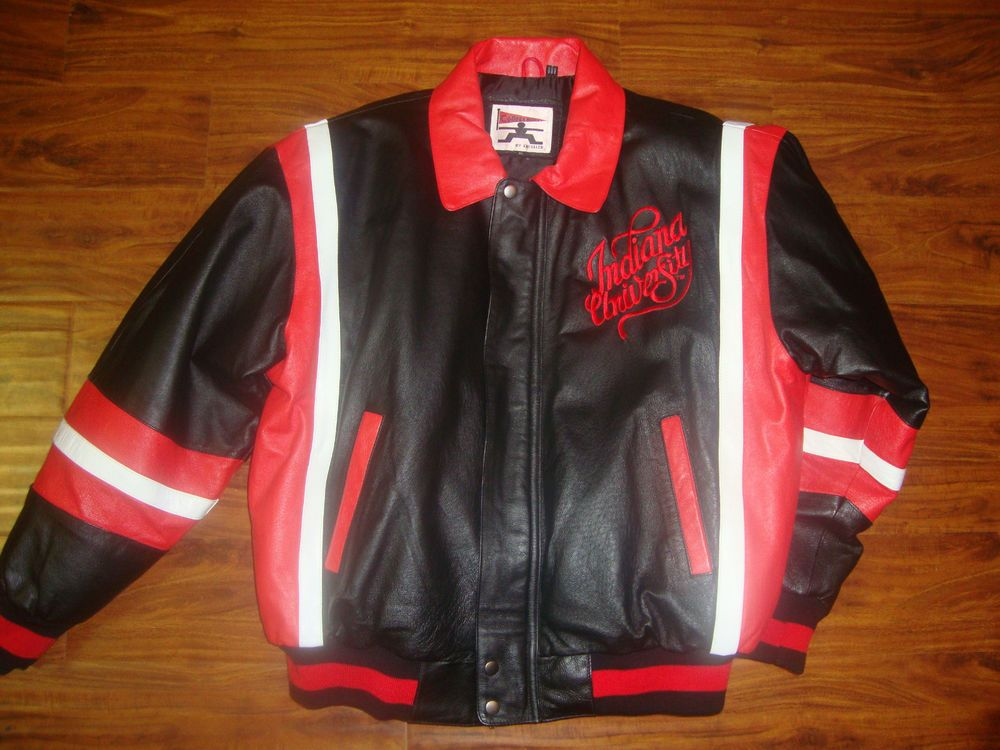 Men's Indiana University IU XL 100% Leather Coat Jacket Stadium Embroidered #Excelled #sport