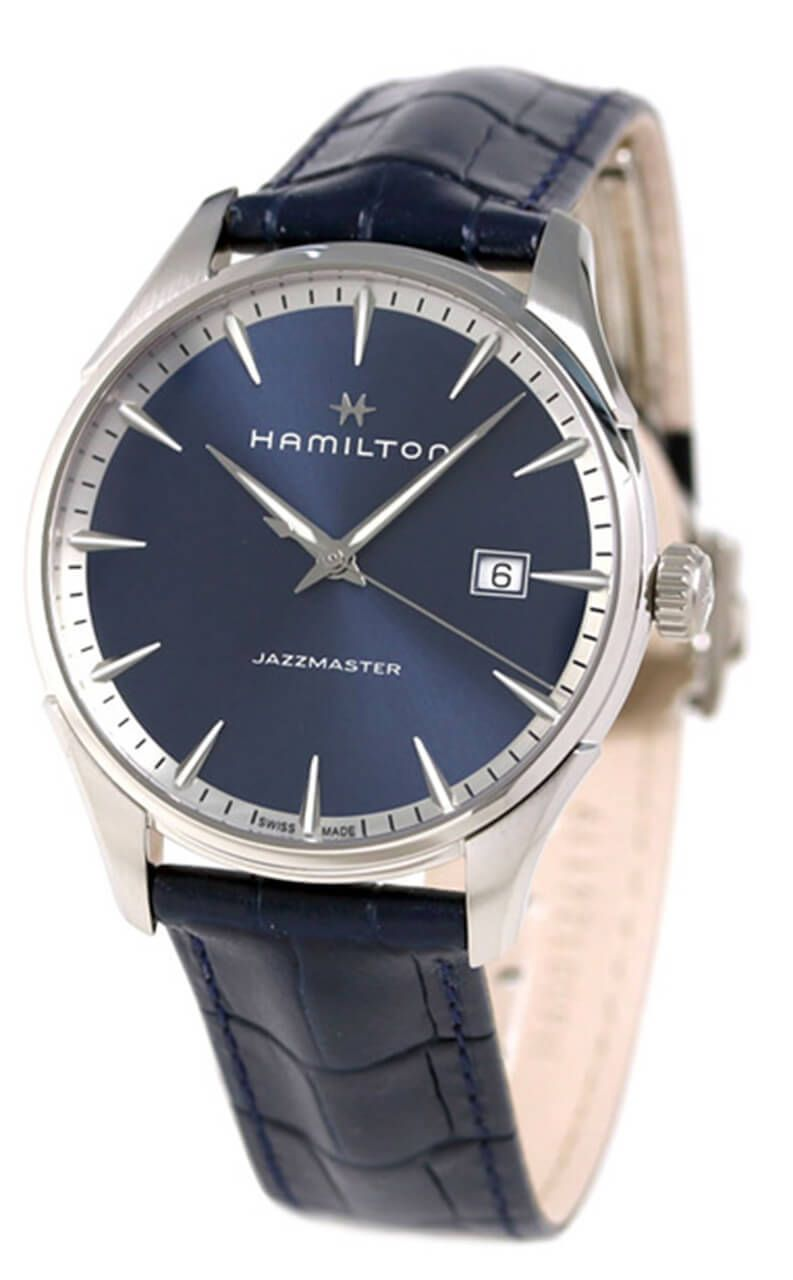 c36b7dc0a45 H32451641 Shop New Hamilton Jazzmaster Leather Band Blue Swiss Quartz Men  Watch for less on sale   WatchWarehouse.com Free Shipping 30 Day Money Back