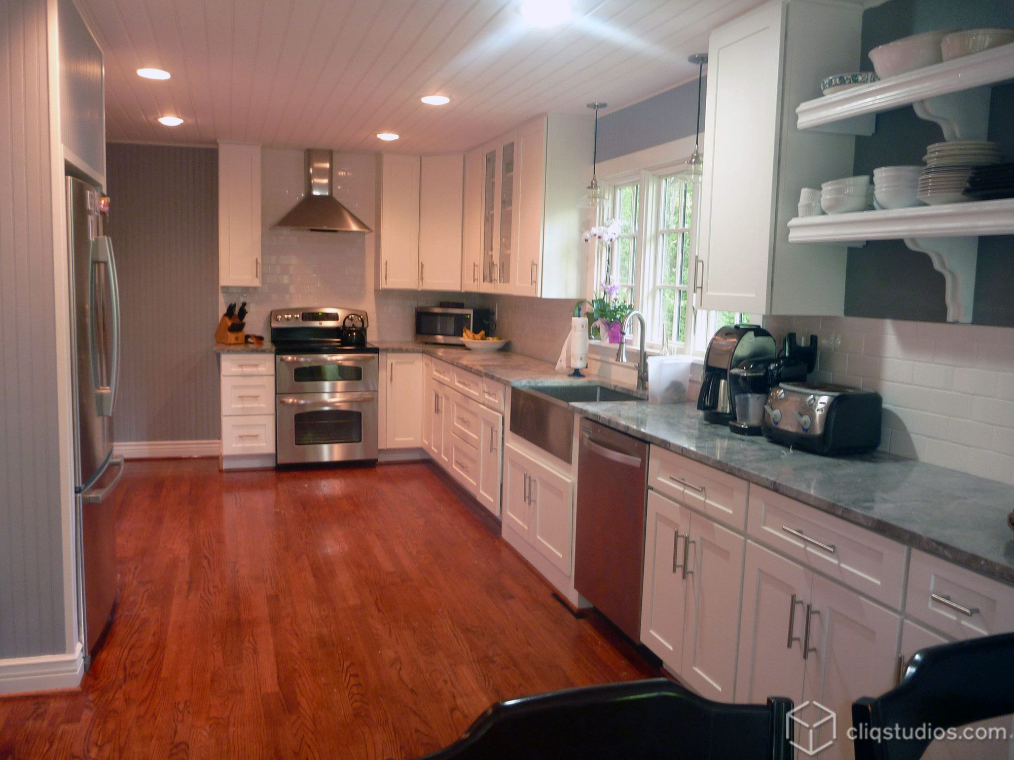 New white missionstyle Dayton kitchen cabinets from CliqStudios