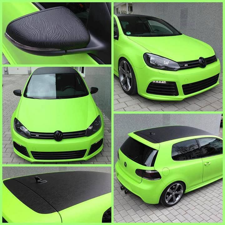 VW R Lime Green Black Texture