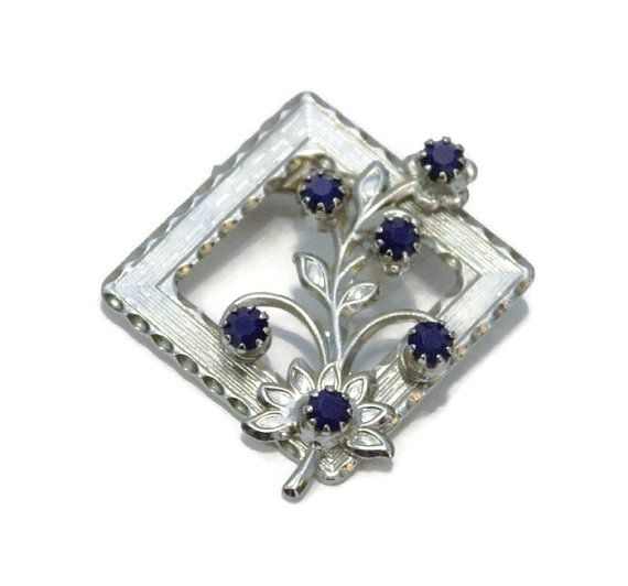 Square Flower Brooch With Blue Rhinestones by HeidisTreasureChest