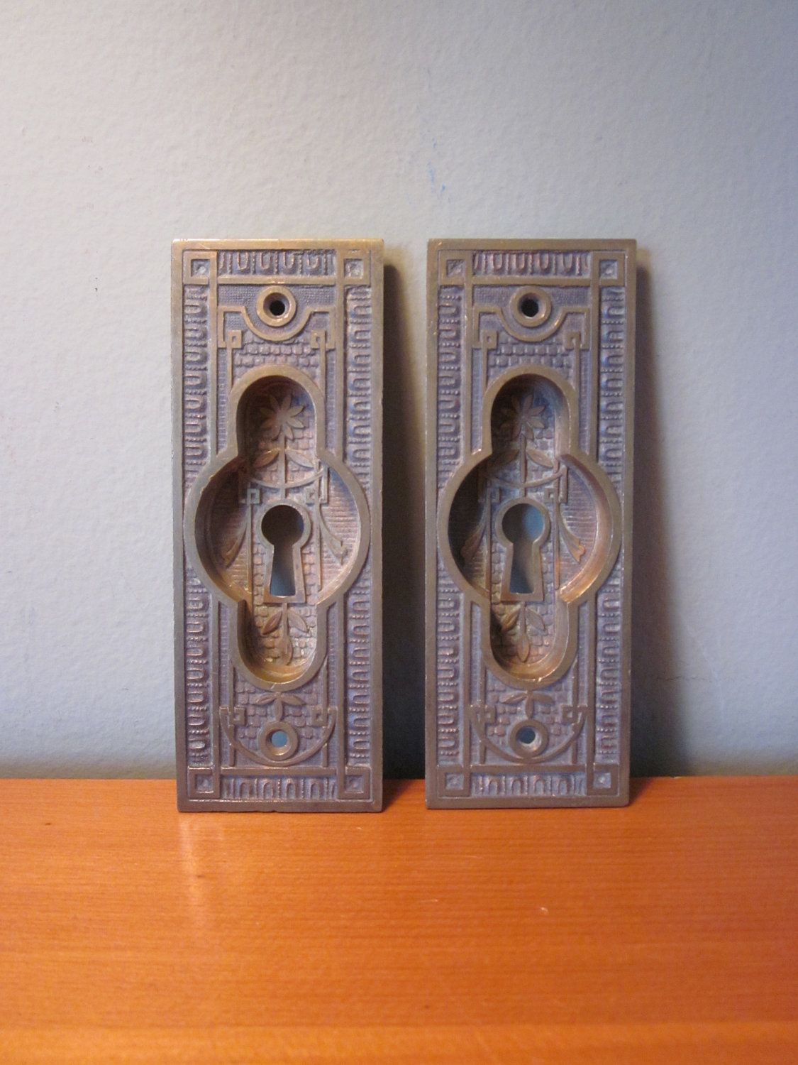 Set Of Two Vintage Brass Pocket Door Handles By 5and10vintage
