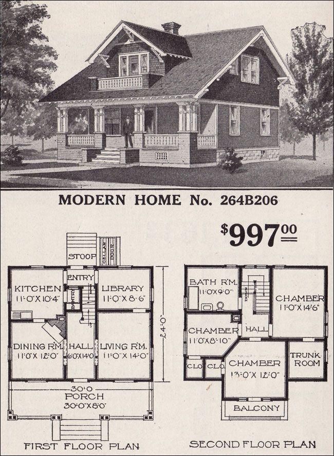 1916 Sears Roebuck Modern Home No 264b206 997 Vintage House Plans Craftsman Style Bungalow Craftsman Bungalows