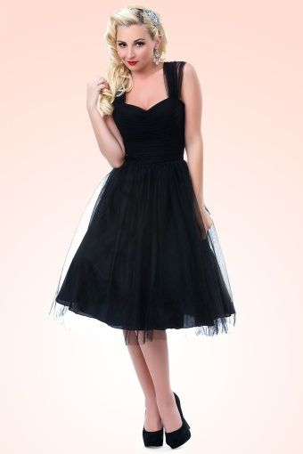 9bc2feef0a6 Unique Vintage - 50s Garden State Dress in Black
