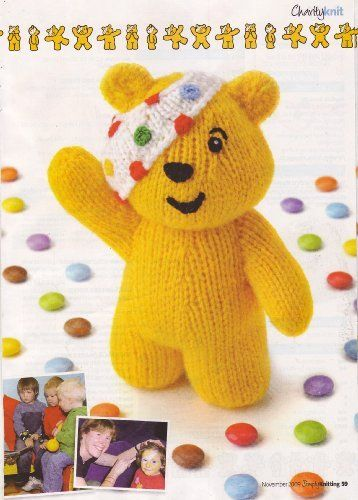 Pudsey Bear By Alan Dart Toy Knitting Pattern Measurements 65