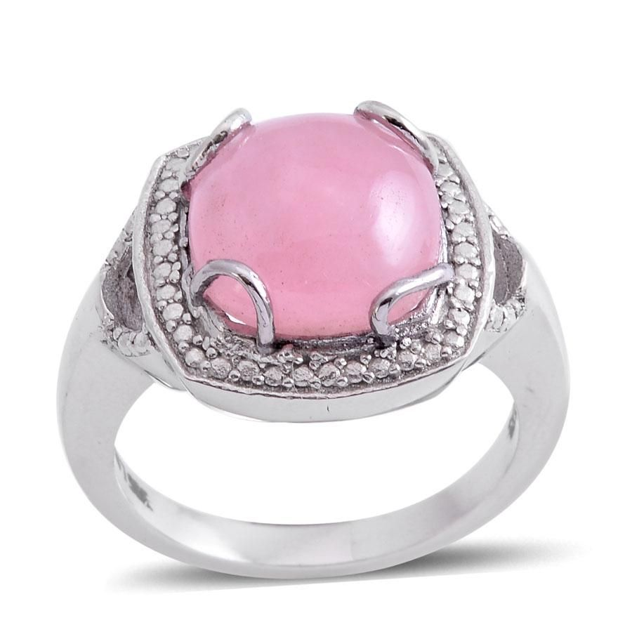 Pink Jade (Cush 7.25 Ct), Simulated Diamond Ring in Stainless Steel ...