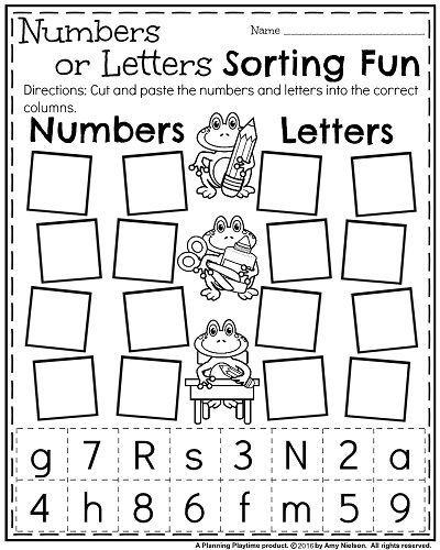 Back To School Kindergarten Worksheets Numbers Or Letters Sort Number Worksheets Kindergarten Preschool Worksheets Kindergarten Readiness Number worksheets for kindergarten