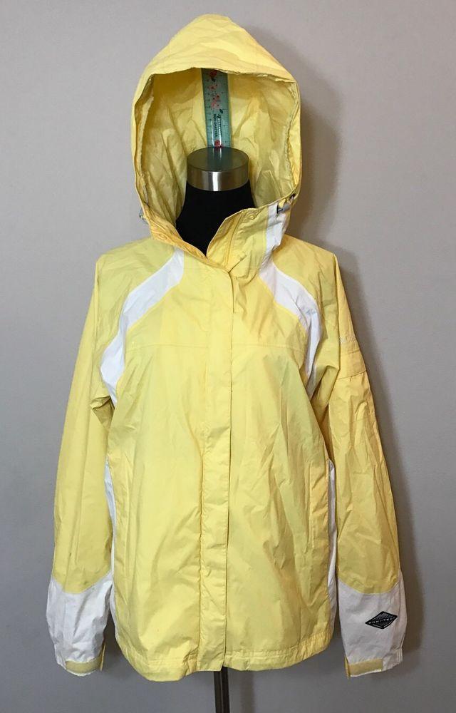 Columbia Womens Size XL Rain Jacket Yellow Windbreaker Waterproof Omni Tech  READ  9f2b04e8c1