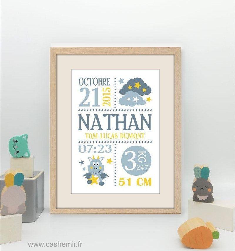 Affiche Naissance Bebe Cadeau De Naissance Garcon Personnalise