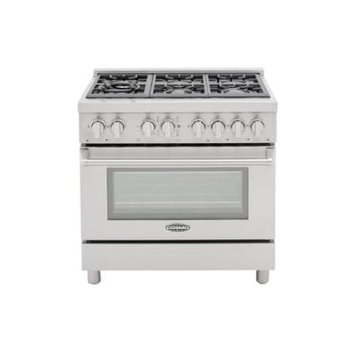 Delicieux Cosmo Commercial Style 36 In. 4.5 Cu. Ft. Dual Fuel Range With 6 Italian  Burners Cast Iron Grates And 8 Function Electric Oven, Silver