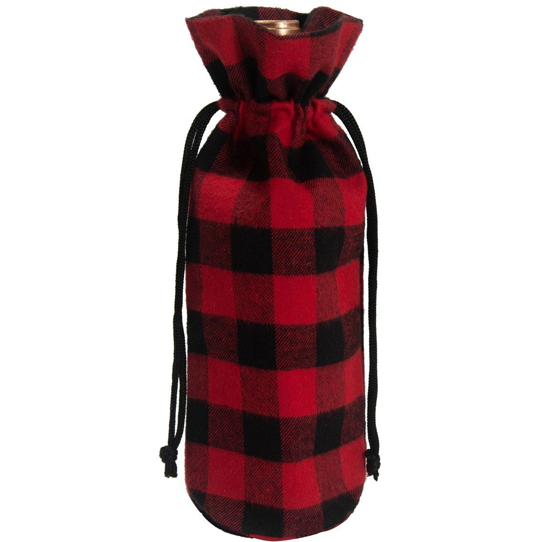 Edldecco Rustic Plaid Wine Bags With Drawstring Red And Black Buffalo Check Wine Bottle Coverspack Of 4 Visit The Im Wine Bag Wine Bottle Covers Wine Bottle