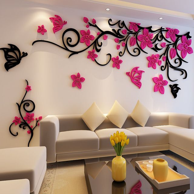 Flower Crystal Three Dimensional Tree Wall Stickers Acrylic Sofa
