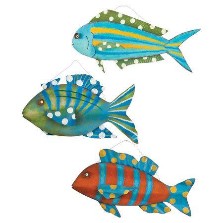 3 Piece Metal Wall Decor Set With A Tropical Fish Design Product 3 Piece Wall Decor Setconstruction Material ปลา