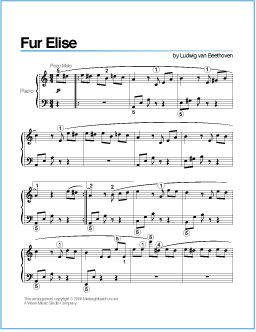 Fur Elise Beethoven Free Printable Sheet Music For Piano