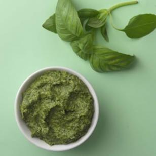 Basic Basil Pesto  -  ??? calories  -  INGREDIENTS(7):  fresh basil, walnuts, parmigiano-reggiano cheese, olive oil, garlic clove, salt, pepper  #vegetarian