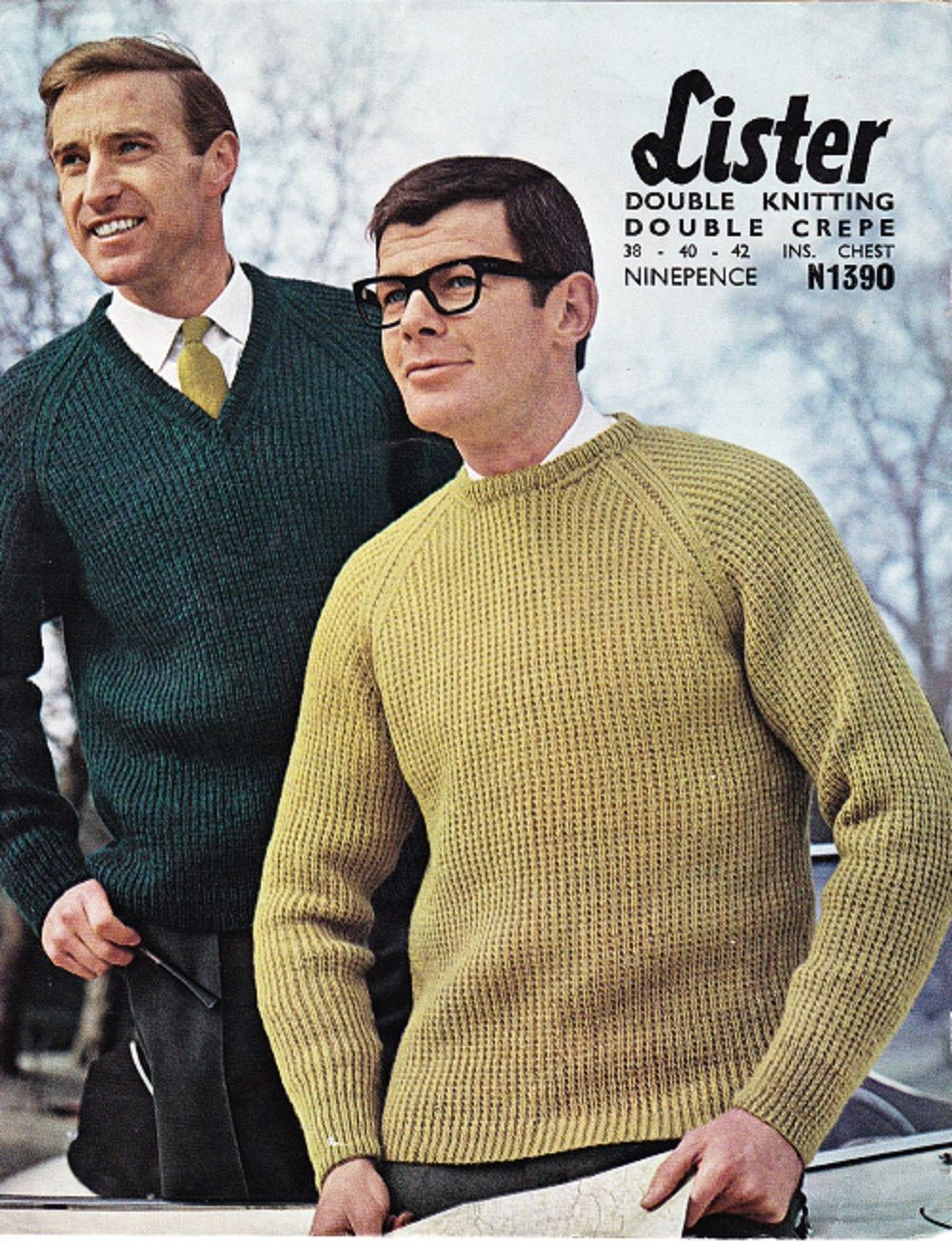 Lister Knitting Pattern N1390, DK, Mans Classic Sweater with V or ...