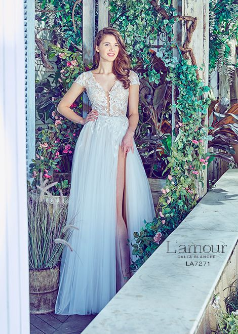 L\'amour by Calla Blanche | LA 7271 | Lace A-line gown with illusion ...