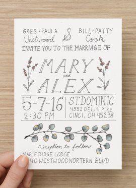 Hand drawn wedding invitation Eucalyptus, lavender, fresh and earthy ...
