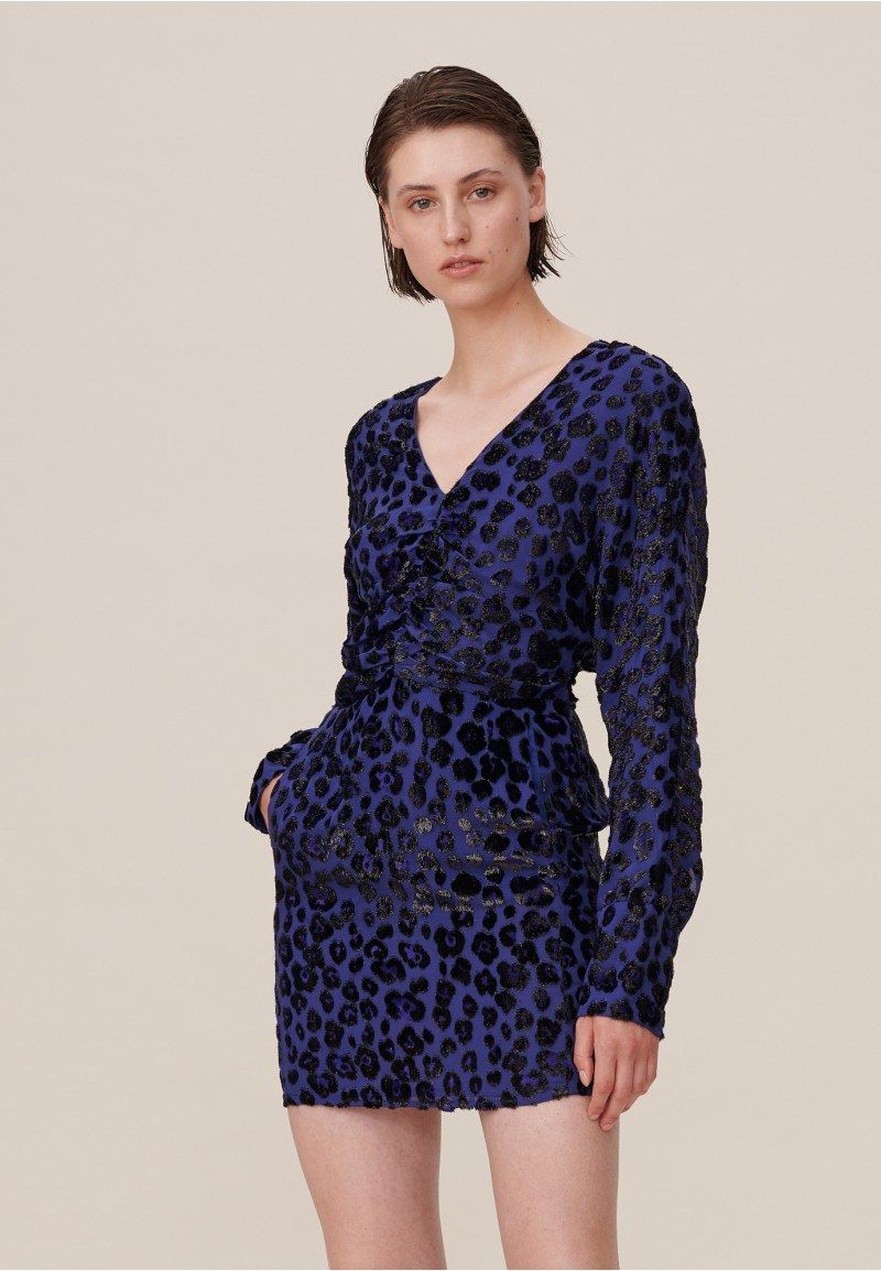 Dress Deina, Velvet leo Jacquard blue - Dresses - Clothing - Shop