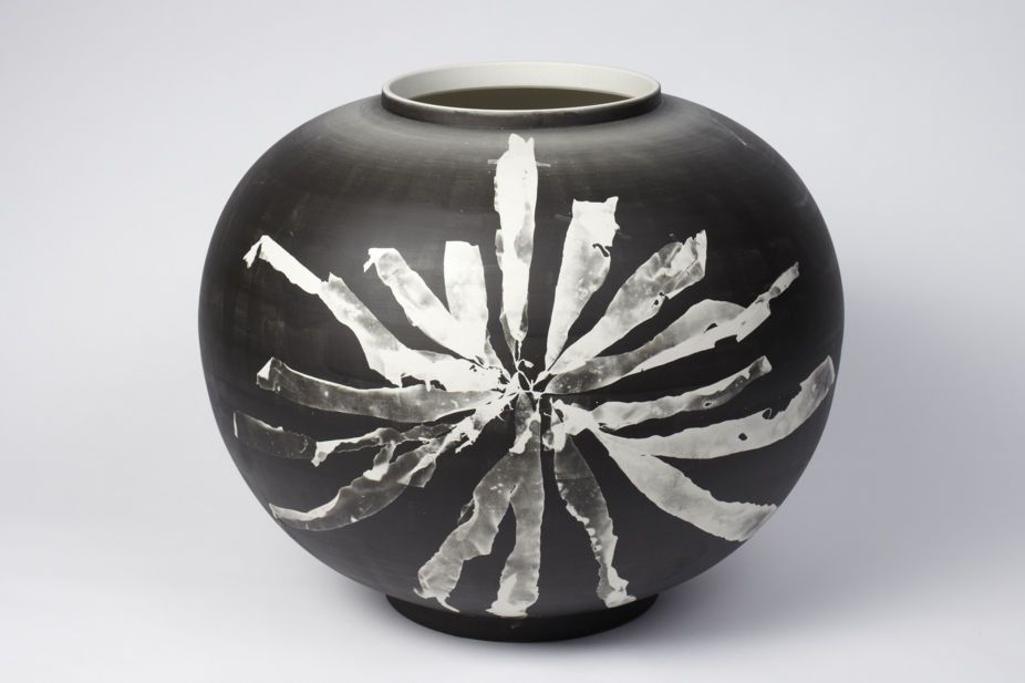 Glithero- Tim Simpson and Sarah van Gameren. The black and white toned image is created by exposing the prepared vase to a spectrum of light that develops the silver salts in the vase creating a permanent photogram. The lasting image reveals the detailed fabric and delicacy of each specimen in contrast with a background of deep satin black.