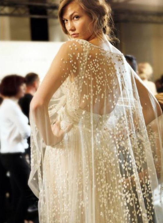Karlie Kloss Wedding Gown with Dramatic Overlay