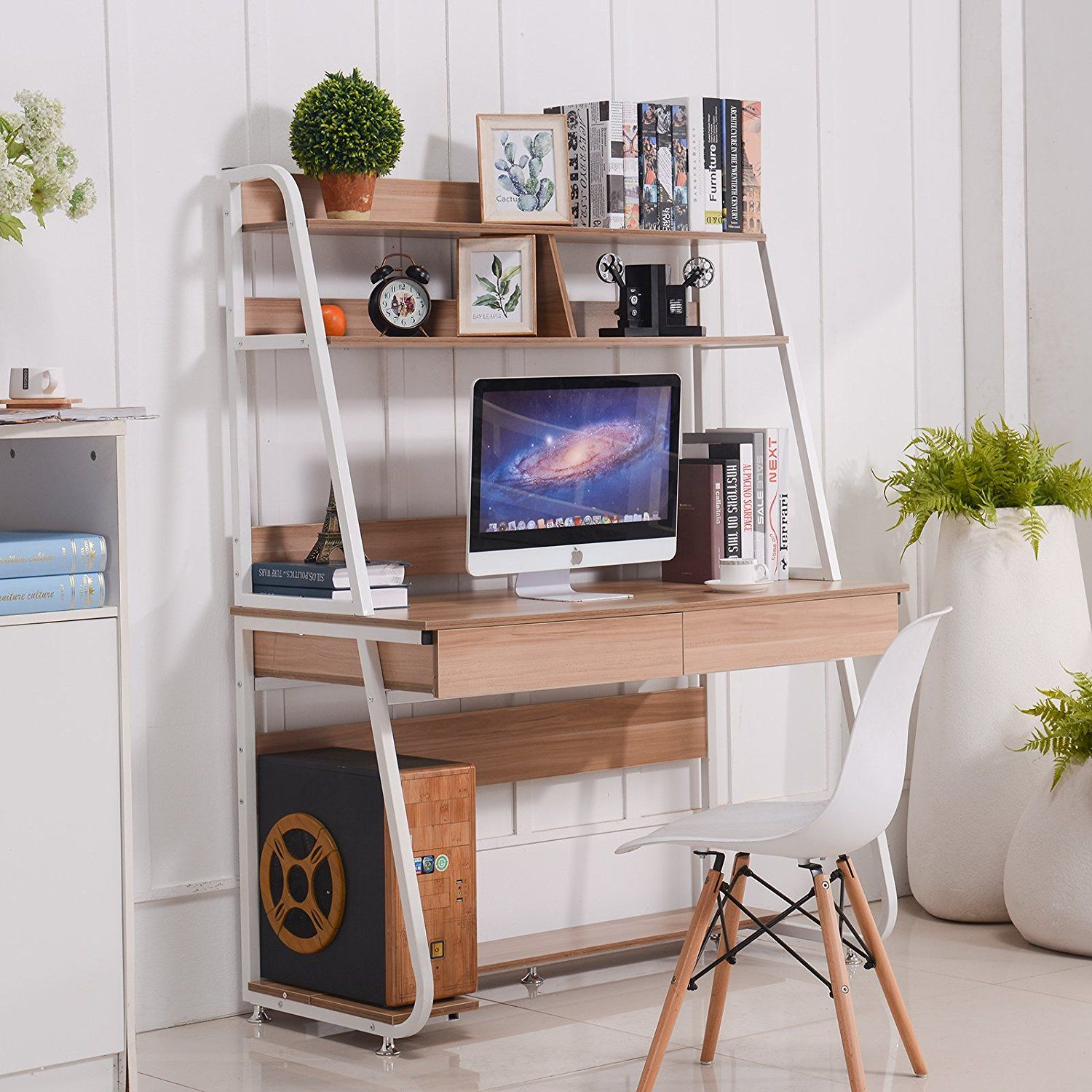 Amazon Com Emall Life Multi Functional Computer Desk With Bookshelf And Drawers Home Office Pc Lap Bookshelf Desk Functional Computer Desk Small Computer Desk