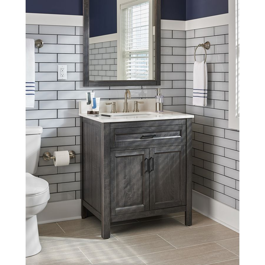 Pic On SCOTT LIVING Grey Oak Single Sink Bathroom Vanity with Engineered Stone Top Common